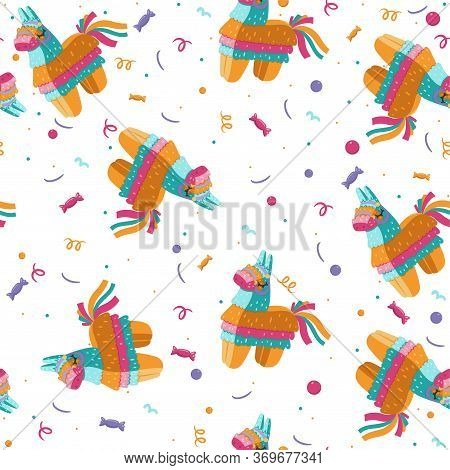 Seamless Pattern With Pinata On A White Background. Vector Image