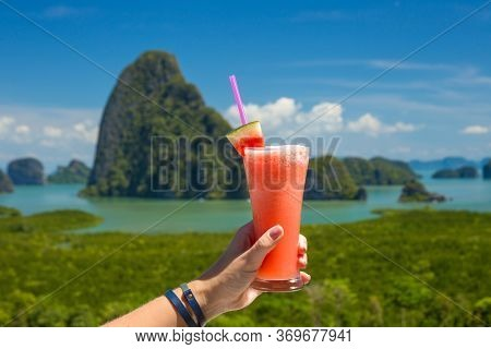 Fresh Watermelon Shake On The Background Of The Bay Of Phan Nga, Thailand. Watermelon Cocktail On A