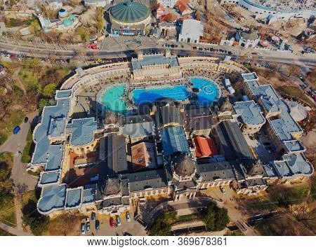 Budapest. Hungary. - March 30, 2019: Beautiful View In The Morning From The Top Of The Szechenyi Bat
