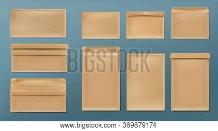 Kraft Envelopes Template Set. Blank Brown Closed And Open Craft Paper Covers, Vertical And Horizonta