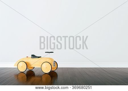 3d render of beautiful child room interior and wooden car toy