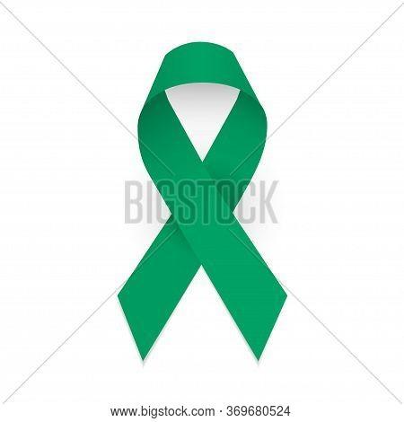 Jade Green Ribbon As Symbol Hepatitis B Awareness, Liver Cancer And Gallbladder Bile Duct Carner Awa