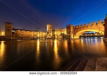 Castelvecchio And Ponte Scaligero (old Castle And Scaligero Bridge), At Night With The River Adige I