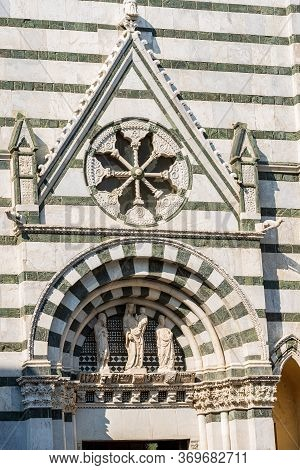 Close-up Of The Medieval Baptistery Of San Giovanni In Corte Or Ritondo (1303-1361) In Romanesque St