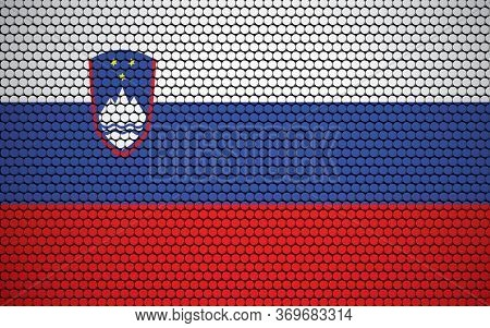 Abstract Flag Of Slovenia Made Of Circles. Slovenian Flag Designed With Colored Dots Giving It A Mod