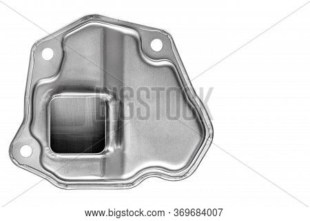 Bottom Assy Oil Of Gray Metal, The Spare Part Strainers Cleaner A  Isolated On A White Background Bo