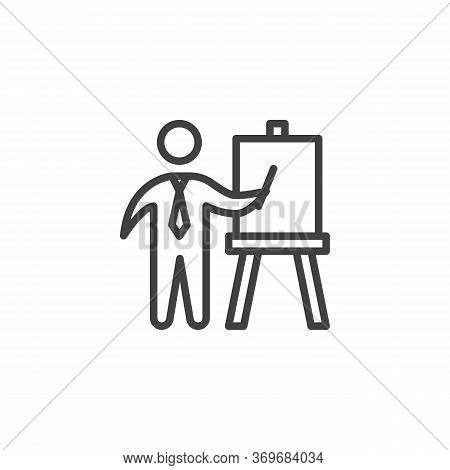 Business Presentation Line Icon. Linear Style Sign For Mobile Concept And Web Design. Businessman Pr