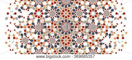 Arabesque Wallpaper Border. Mosaic Seamless Vector Pattern. Geometric Arabesque Halftone Wallpaper P