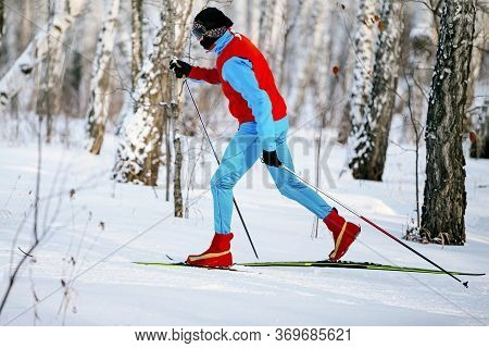 Man Skier Classic Style Move In Cross Country Skiing