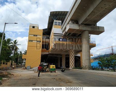 Beautiful And Landmark Of Namma Metro Green Line Konanakunte Metro Station Building, Busy Heavy Traf