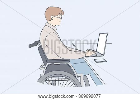 Disability, Business, Freelance, Online Concept. Young Disabled Handicapped Man Clerk Manager Cartoo