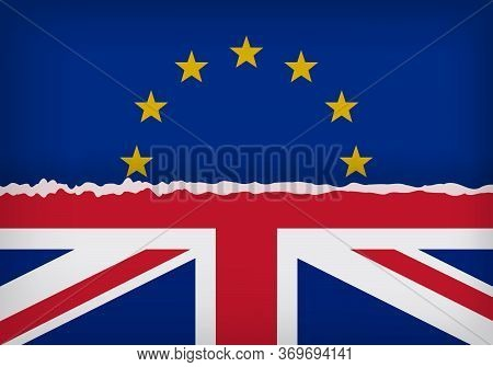 Flags Of United Kingdom And European Union With The Break Line. Brexit Referendum Concept About Uk