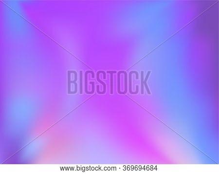 Blurred Hologram Texture Gradient Wallpaper. Refulgent Blue Purple Ultraviolet Background. Liquid Co