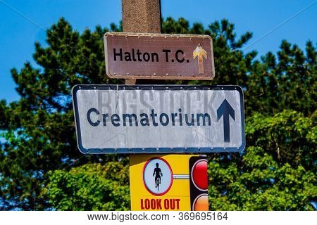 Crematorium Sign Against A Blue Sky Lancaster Uk