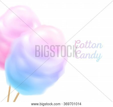 Colorful Cotton Candy On Stick Vector Background.