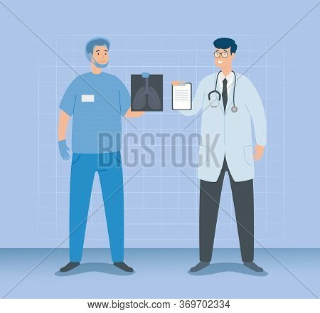 Doctor Male With Paramedic And X Ray Of Lungs Vector Illustration Design