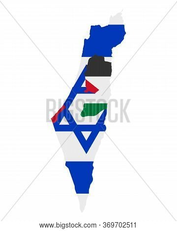 Detailed And Accurate Illustration Of Flag In Map Of Israel And Palestine