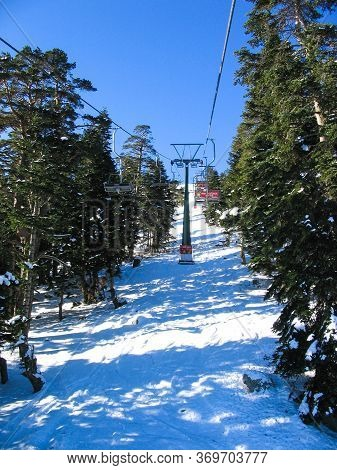 Exiting The Ski Lift In The Winter Season