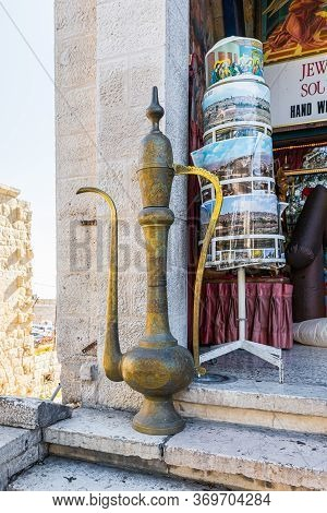 Jerusalem, Israel, December 28, 2018 : Large Copper Jug Is Located Near The Souvenir Shop In Bethleh