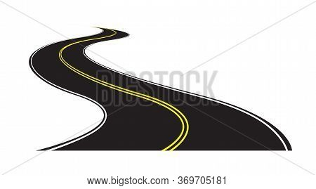 Abstract Curved Asphalt Road With Double Yellow Line In Middle