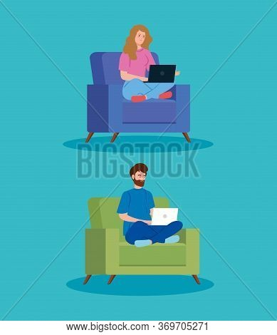 Couple Working In Telecommuting Sitting In Couch Vector Illustration Design