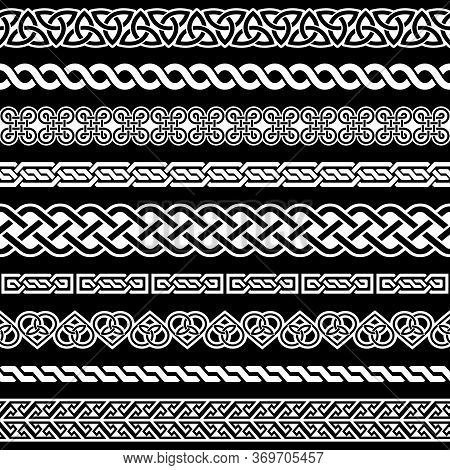 Irish Celtic Vector Seamless Border Repetitive Pattern  Set, Braided Frame Designs For Greeting Card