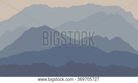 Calm Majestic Mountain Landscape With Fog And Mist