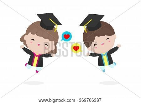 Set Of Graduation Kids, Happy Child Graduates, Happy Kids Jumping, Graduates In Gowns And With Diplo