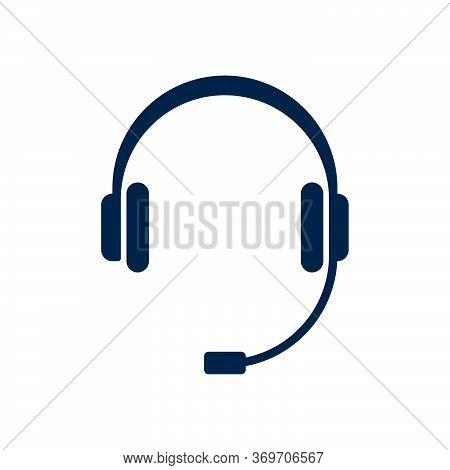 Headphones With Microphone On White Background. Flat Vector Headphones Design.