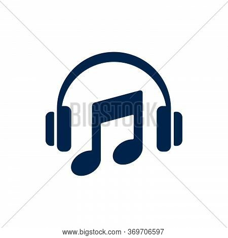 Headphones And Musical Note On White Background. Flat Vector Headphones Design.