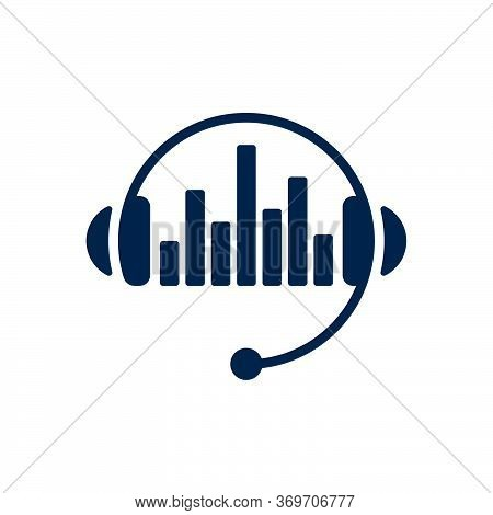 Headphones And Sound Waves On White Background. Flat Vector Headphones Design.