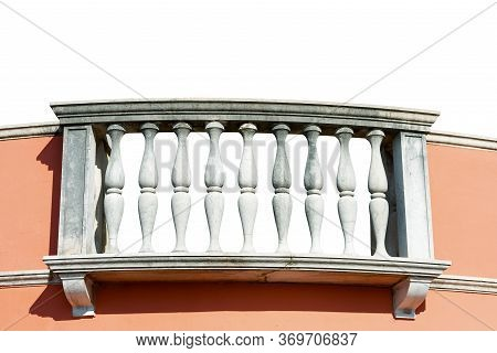 Close-up Of A Balcony With White Stone Balustrade And Pink Wall, Isolated On White Background