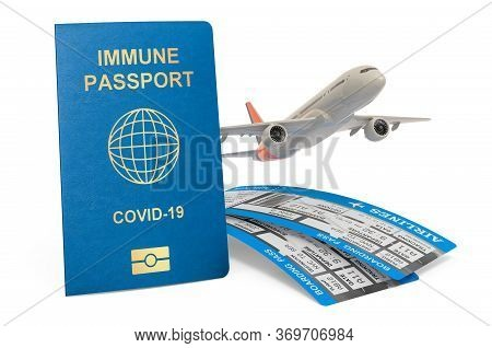 Immune Passport With Airplane, 3d Rendering Isolated On White Background