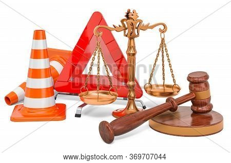 Traffic Cones And Red Triangle With Wooden Gavel And Scales Of Justice. 3d Rendering Isolated On Whi