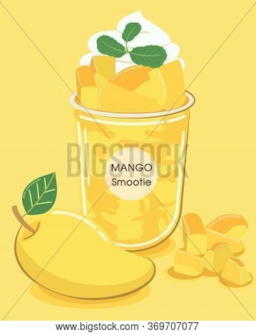Mango Yellow Smoothie Blended With Mango Texture And Whipped Cream On Top, Colorful And Refreshing I