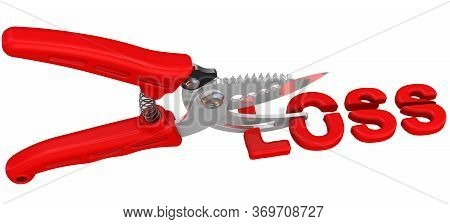 The Concept Of Loss Cuts. The Pruner Cuts The Red Word Loss. Isolated. 3d Illustration