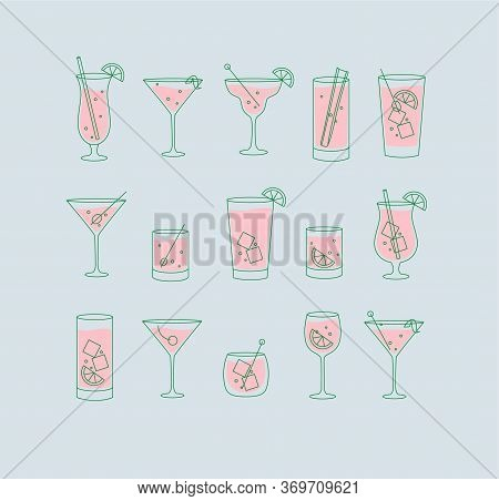 Alcohol Drinks And Cocktails Icon Set In Flat Line Style On Light Blue Background.