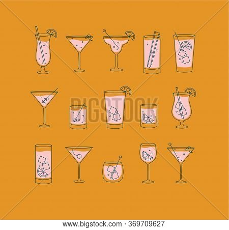 Alcohol Drinks And Cocktails Icon Set In Flat Line Style On Orange Background.