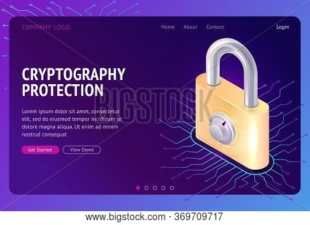 Cryptography Protection, Vector Web Banner Isometric Concept. Large Lock With Combination Lock And E