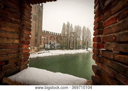 Verona. Castelvecchio (old Castle) And River Adige Seen From The Ponte Scaligero (medieval Bridge) I