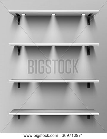 Empty Wooden Shelves With Spotlights. Vector Realistic Mockup Of White Bookshelves In Library, Wood