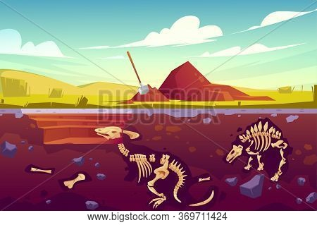 Fossil Dinosaurs Excavation, Paleontology And Archeology Works. Vector Cartoon Illustration Of Lands