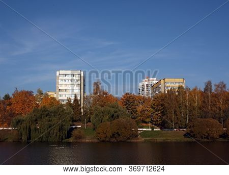 Residential Buildings On River Bank. Minsk, Belarus
