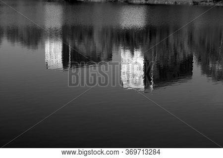 Residential Buildings Reflections In Water. Minsk, Belarus