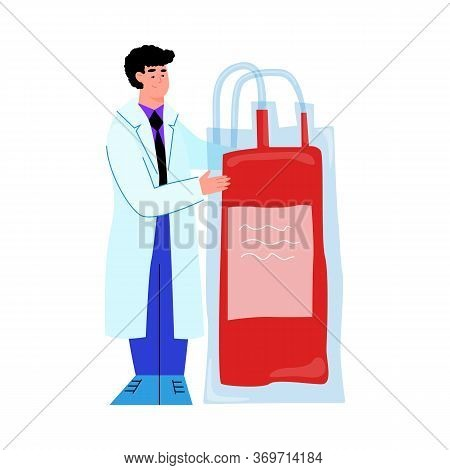 Doctor Holding Blood Bag From Donor Donation - Cartoon Man In Lab Coat With Giant Blood Transfusion