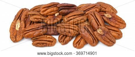 Pile Pecan Nuts Isolated On White Background. Heap Shelled Pecans Nut Closeup