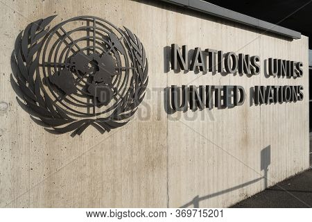 Geneva Switzerland , 3 January 2020 : Un Logo With Name At The Entrance Of The United Nations Office