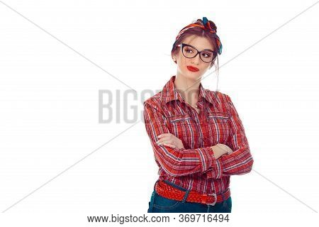 Woman Having Skeptical And Dissatisfied Look Expressing Distrust, Skepticism And Doubt. Closeup Port