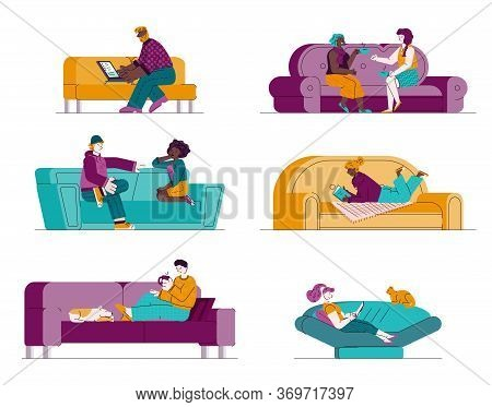 Set Of People Cartoon Characters Sitting On Sofa Resting And Communicating, Sketch Vector Illustrati