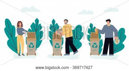 People Sorting Trash In Recycling Bins - Ecology Volunteers Sorting Their Garbage Into Glass Bottle,